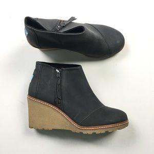 Toms Womens Grey Zip Wedges 6 A41